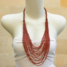 'Dark Brown Beads Chain With Wood