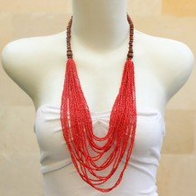 'Red Beads Chain with Wood