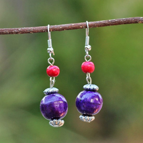 Purple Wooden Balls Hanging